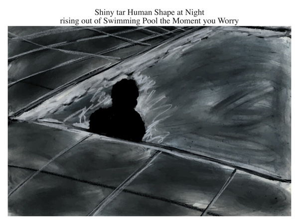 Shiny tar Human Shape at Night rising out of Swimming Pool the Moment you Worry