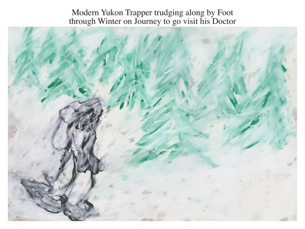 Modern Yukon Trapper trudging along by Foot through Winter on Journey to go visit his Doctor