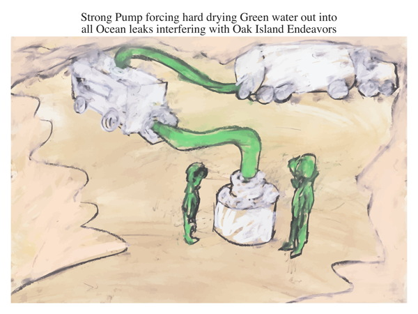 Strong Pump forcing hard drying Green water out into all Ocean leaks interfering with Oak Island Endeavors