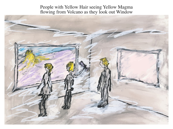 People with Yellow Hair seeing Yellow Magma flowing from Volcano as they look out Window