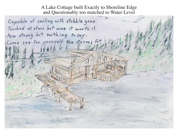 A Lake Cottage built Exactly to Shoreline Edge and Questionably too matched to Water Level