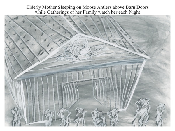 Elderly Mother Sleeping on Moose Antlers above Barn Doors while Gatherings of her Family watch her each Night
