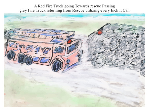 A Red Fire Truck going Towards rescue Passing grey Fire Truck returning from Rescue utilizing every Inch it Can