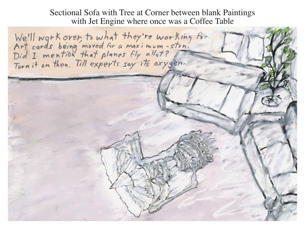 Sectional Sofa with Tree at Corner between blank Paintings with Jet Engine where once was a Coffee Table