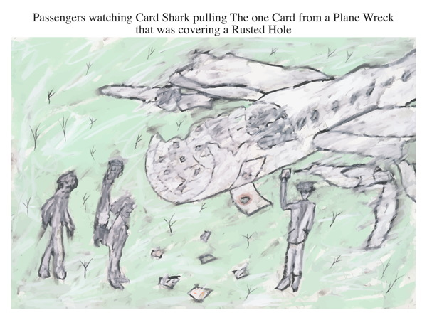 Passengers watching Card Shark pulling The one Card from a Plane Wreck that was covering a Rusted Hole