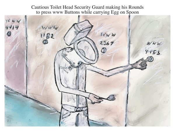 Cautious Toilet Head Security Guard making his Rounds to press www Buttons while carrying Egg on Spoon