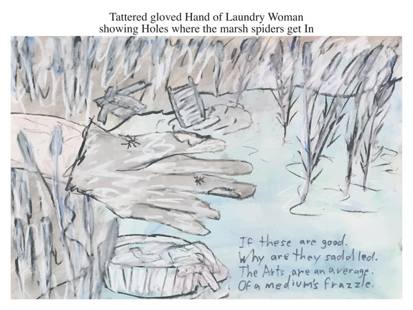 Tattered gloved Hand of Laundry Woman showing Holes where the marsh spiders get In