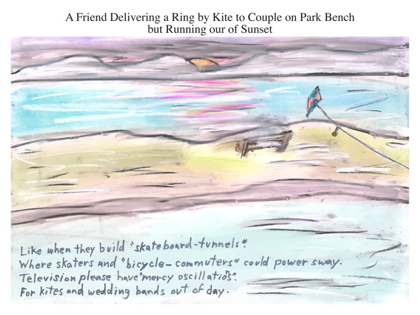 A Friend Delivering a Ring by Kite to Couple on Park Bench but Running our of Sunset