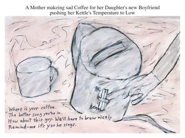 A Mother makeing sad Coffee for her Daughter's new Boyfriend pushing her Kettle's Temperature to Low