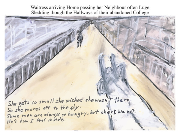 Waitress arriving Home passing her Neighbour often Luge Sledding though the Hallways of their abandoned College