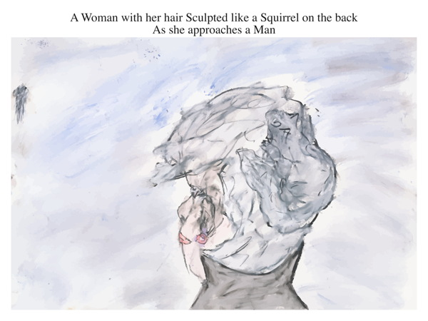 A Woman with her hair Sculpted like a Squirrel on the back As she approaches a Man