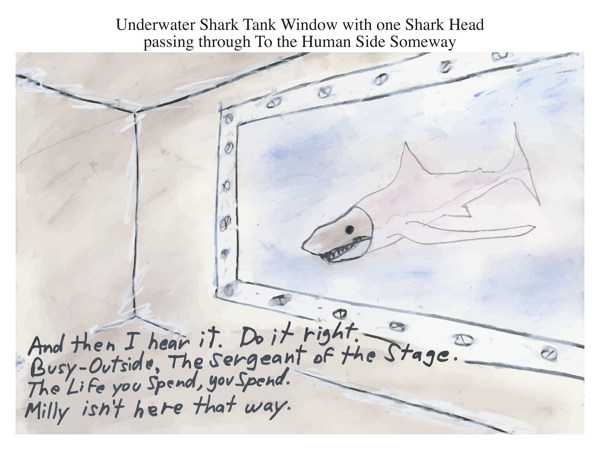Underwater Shark Tank Window with one Shark Head passing through To the Human Side Someway
