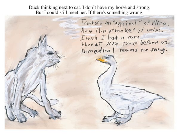 Duck thinking next to cat. I don't have my horse and strong. But I could still meet her. If there's something wrong.