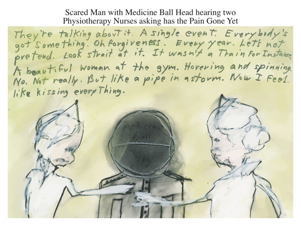 Scared Man with Medicine Ball Head hearing two Physiotherapy Nurses asking has the Pain Gone Yet