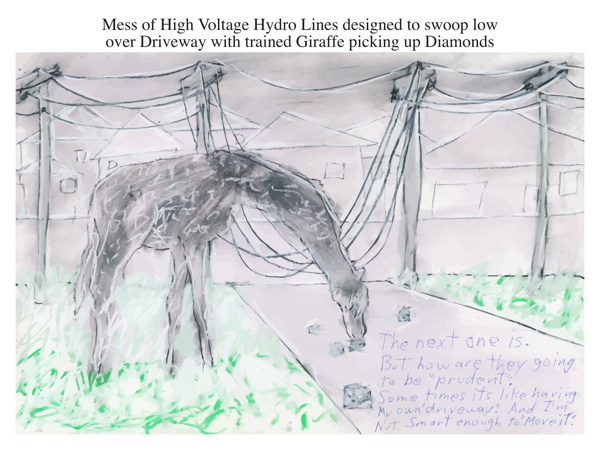 Mess of High Voltage Hydro Lines designed to swoop low over Driveway with trained Giraffe picking up Diamonds