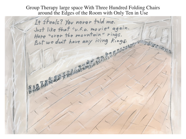 Group Therapy large space With Three Hundred Folding Chairs around the Edges of the Room with Only Ten in Use
