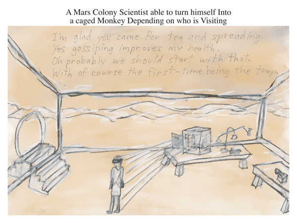 A Mars Colony Scientist able to turn himself Into a caged Monkey Depending on who is Visiting