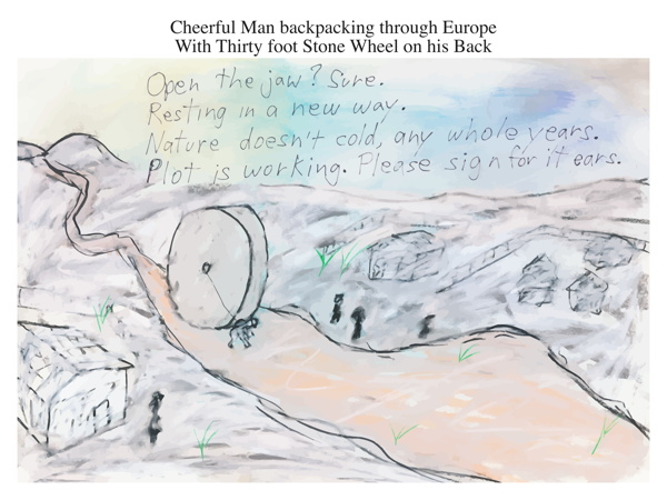 Cheerful Man backpacking through Europe With Thirty foot Stone Wheel on his Back