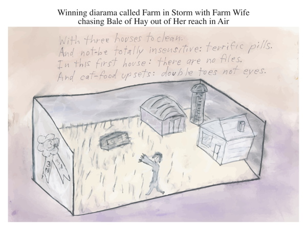 Winning diarama called Farm in Storm with Farm Wife chasing Bale of Hay out of Her reach in Air