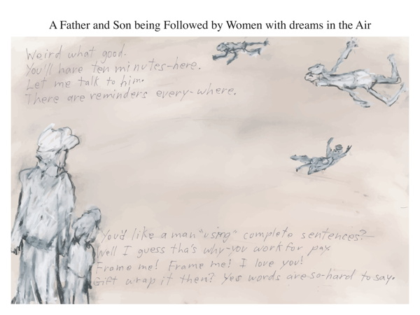A Father and Son being Followed by Women with dreams in the Air
