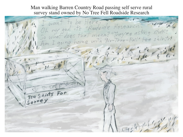 Man walking Barren Country Road passing self serve rural survey stand owned by No Tree Fell Roadside Research