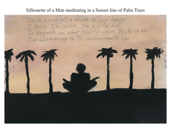Silhouette of a Man meditating in a Sunset line of Palm Trees
