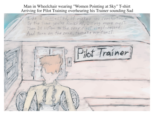 Man in Wheelchair wearing Women Pointing at Sky T-shirt Arriving for Pilot Training overhearing his Trainer sounding Sad