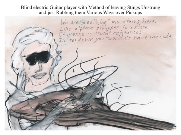 Blind electric Guitar player with Method of leaving Stings Unstrung and just Rubbing them Various Ways over Pickups