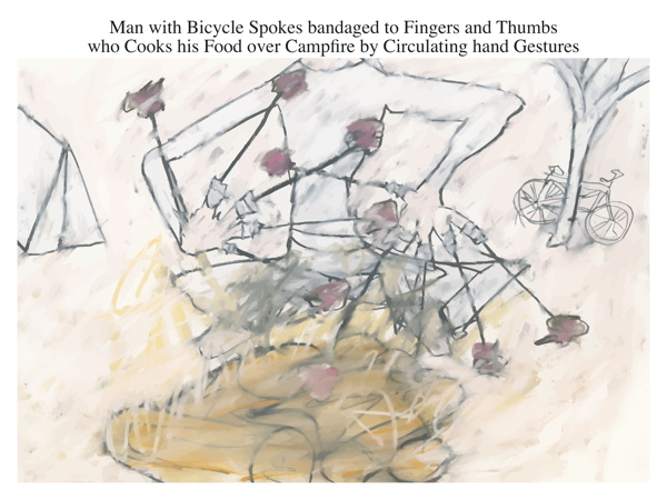 Man with Bicycle Spokes bandaged to Fingers and Thumbs who Cooks his Food over Campfire by Circulating hand Gestures