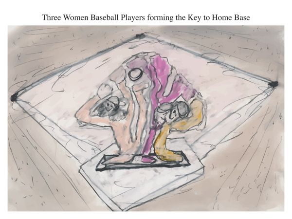 Three Women Baseball Players forming the Key to Home Base