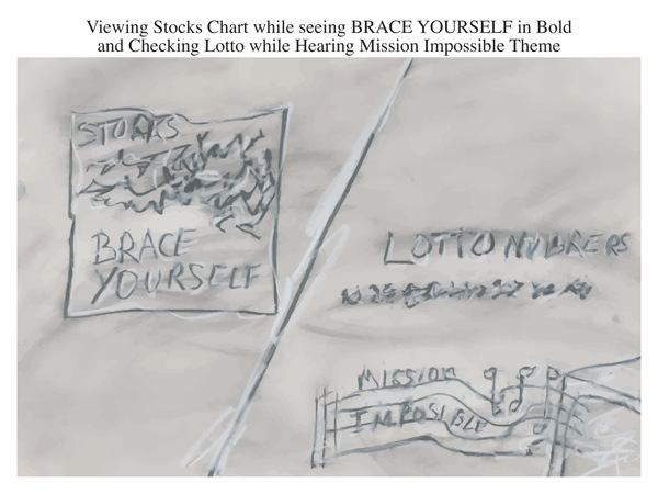 Viewing Stocks Chart while seeing BRACE YOURSELF in Bold and Checking Lotto while Hearing Mission Impossible Theme