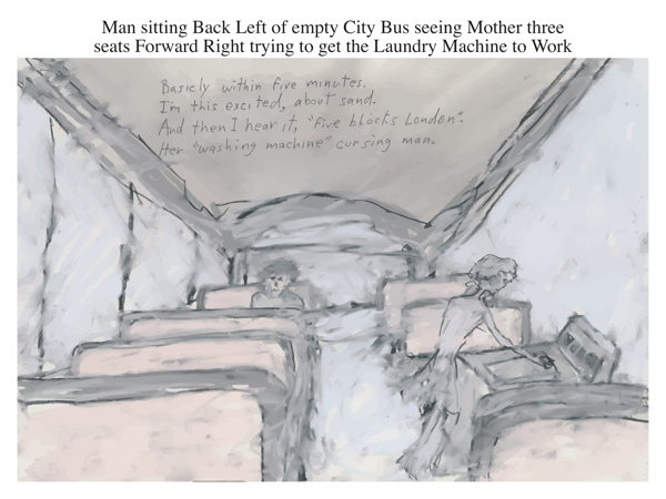Man sitting Back Left of empty City Bus seeing Mother three seats Forward Right trying to get the Laundry Machine to Work