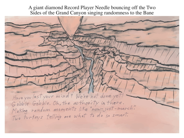 A giant diamond Record Player Needle bouncing off the Two Sides of the Grand Canyon singing randomness to the Bane