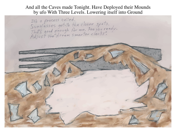 And all the Caves made Tonight. Have Deployed their Mounds by ufo With Three Levels. Lowering itself into Ground