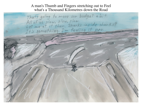 A man's Thumb and Fingers stretching out to Feel what's a Thousand Kilometres down the Road