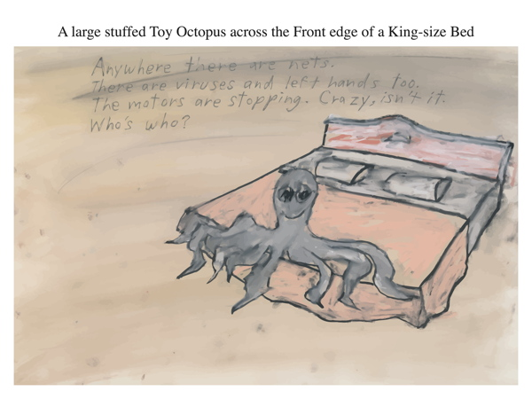 A large stuffed Toy Octopus across the Front edge of a King-size Bed