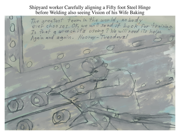 Shipyard worker Carefully aligning a Fifty foot Steel Hinge before Welding also seeing Vision of his Wife Baking