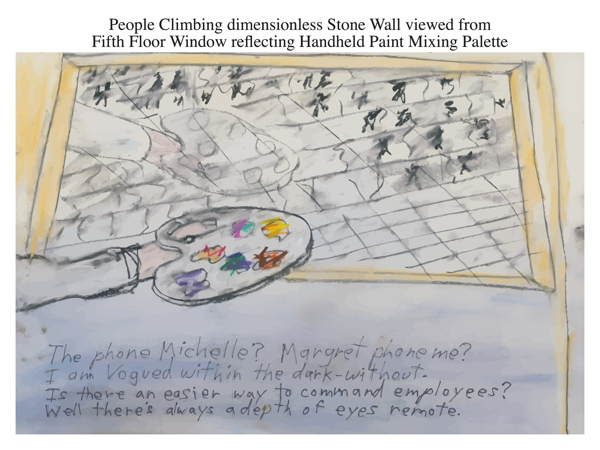 People Climbing dimensionless Stone Wall viewed from Fifth Floor Window reflecting Handheld Paint Mixing Palette