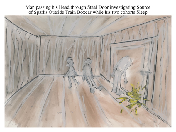 Man passing his Head through Steel Door investigating Source of Sparks Outside Train Boxcar while his two cohorts Sleep