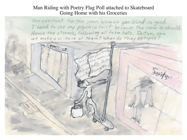 Man Riding with Poetry Flag Poll attached to Skateboard Going Home with his Groceries