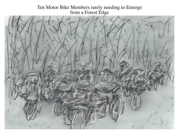 Ten Motor Bike Members rarely needing to Emerge from a Forest Edge