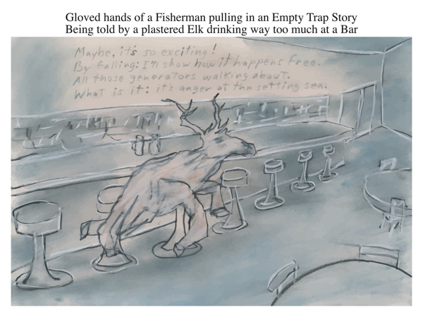 Gloved hands of a Fisherman pulling in an Empty Trap Story Being told by a plastered Elk drinking way too much at a Bar
