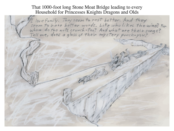 That 1000-foot long Stone Moat Bridge leading to every Household for Princesses Knights Dragons and Olds