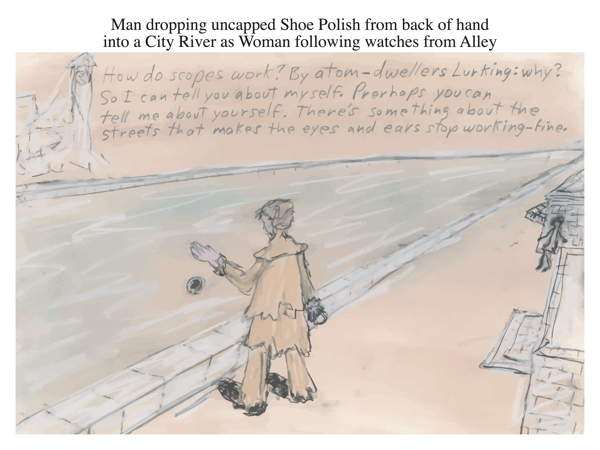 Man dropping uncapped Shoe Polish from back of hand into a City River as Woman following watches from Alley