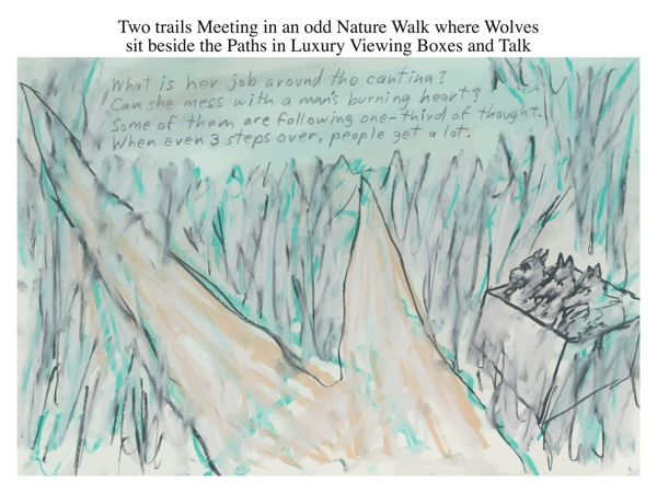 Two trails Meeting in an odd Nature Walk where Wolves sit beside the Paths in Luxury Viewing Boxes and Talk