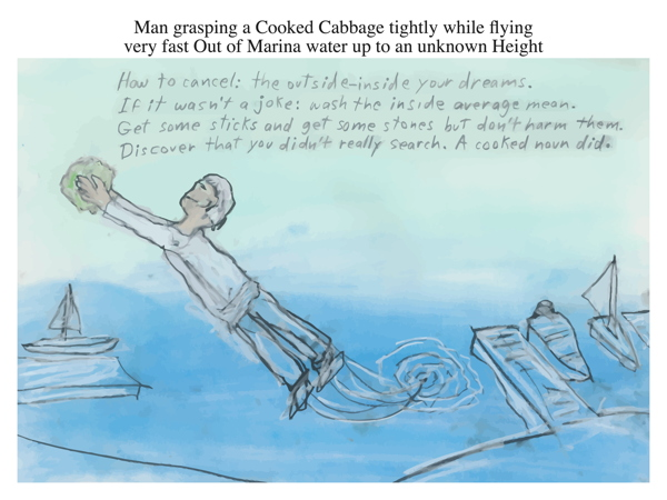 Man grasping a Cooked Cabbage tightly while flying very fast Out of Marina water up to an unknown Height
