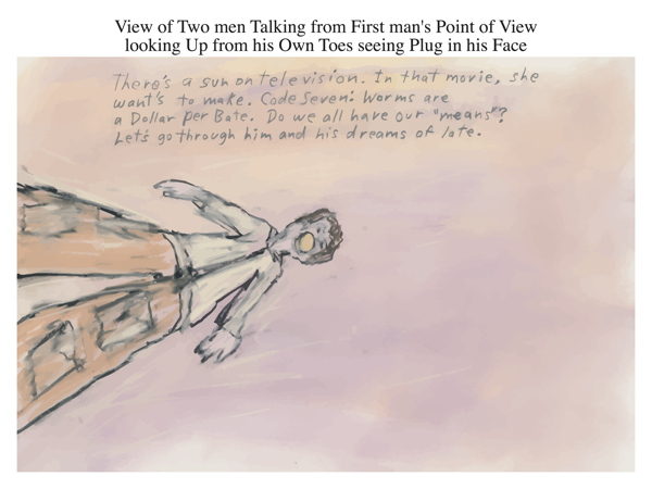 View of Two men Talking from First man's Point of View looking Up from his Own Toes seeing Plug in his Face